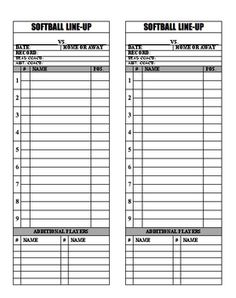 Free Baseball Lineup Sheets Printable  Printable Softball Batting