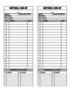 Free Baseball Lineup Sheets Printable  Printable Softball Batting