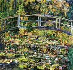 Tom Deininger re-created Monet's 1899 masterpiece Bridge over a Pond of Water Lilies, using found objects like plastic forks, phone cords, bottle caps, markers, lighters, combs, and children's toys.