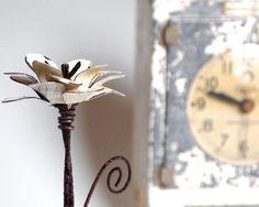 Organic wood & metal flower. Cute coworker gift!
