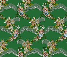 Roses Wave Brocade - Green fabric by bonnie_phantasm on Spoonflower - custom fabric