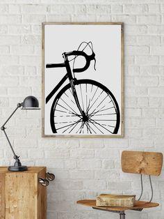 cycling poster Bike art print Bicycle poster Bike by BikeWoodHome