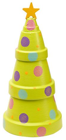 "Stacking clay pots has never been so fun. Create this cute Christmas Tree Pot for any room. The beautiful patio paint is what puts this all together. Of course the star ""tops the cake."" You can pull this craft out every year."