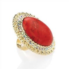 Minerva Collection Large Oval Bead Fashion Ring Gold