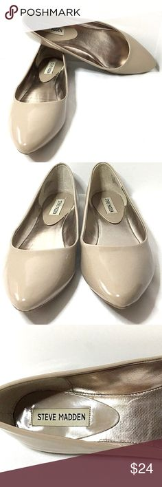 Steve Madden~Ibiza Ballet Flats~Almond~Tan~Size 8M Steve Madden~Ibiza Ballet Flats~Almond / Tan~Size 8M~Patent Leather~Comfort Insoles. These great shoes can easily be dressed up or down. Would go great in the office or with a pair of your favorite jeans.   Check our feedback! We package your item thoughtfully & carefully. Items ship in 1 business day. Check out our store...You never know what treasures you'll find!  Please don't hesitate to ask questions, I'm happy to answer them. All items…