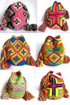 Cómo tejer una mochila estilo wayuu - El Cómo de las Cosas Tapestry Crochet, Handmade Bags, Vera Bradley Backpack, Vivid Colors, Clutch Bag, Sewing Patterns, Knitting, Pretty, Desert Sun