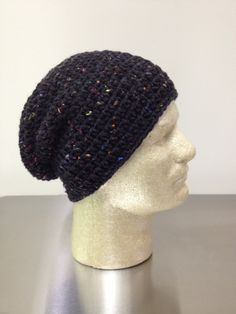 Slouchy Beanie Black Fleck slouch hat by just4tdyCrochet on Etsy