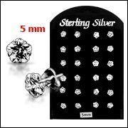 New 5MM CZ Flower 925 Sterling Silver Ear Stud in 12 pair Tray Body Jewelry