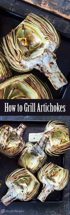 Grilled Artichokes are the BEST! Artichoke halves, steamed first, then infused with herbed oil and grilled until smoky and tender. On Simpl. Vegetable Recipes, Vegetarian Recipes, Cooking Recipes, Healthy Recipes, Grill Recipes, Pork Recipes, My Recipes, Dinner Recipes, Grilled Artichoke