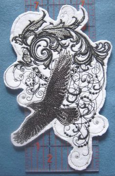 "STORMY FLIGHT of the RAVEN Large Embroidered Iron On Patch 7.0"" x 4.5"" FREE SHIP #PinkFlamingoEmbroideryCrafts"