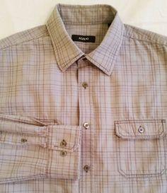 Alfani Mens Button-Front Gray Plaid Cotton Shirt sz L #Alfani #ButtonFront