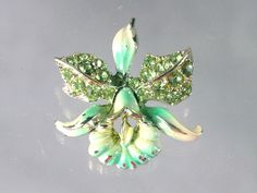 enameled vintage jewelry   Enamel Orchid Pin