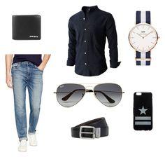 """""""Blue style"""" by itsjuliexx on Polyvore featuring Daniel Wellington, Joe's Jeans, Ray-Ban, Diesel, BOSS Hugo Boss, Givenchy, mens, men, men's wear und mens wear"""