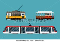 Set of beautiful detailed city railway transport | Metropolitan mass transit system icons featuring vintage tram car, cable car and modern tramway train. Ideal for transportation infographics - stock vector