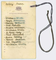 Dance card miss halls school betsey dunn-1920s.  Great to give everyone one on one time with the birthday girl.