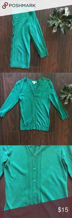 NY & CO 3/4 Sleeve Button up Cardigan Adorable Jade green 3/4 sleeve button up cardigan. Like new! As it has just sat in my closet and never been worn. Perfect cardigan for spring or fall. Embroidered detail along the buttons as pictured. New York & Company Sweaters Cardigans