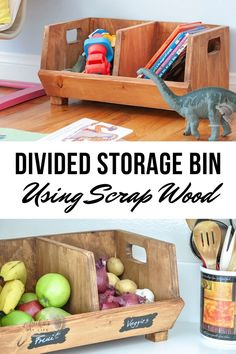 Easy DIY storage bin with divider. It is a perfect beginner woodworking project or a great way to use up the scraps and organize the kitchen or any other area! #storage #scrapwood #AnikasDIYLife Kreg Jig Projects, Scrap Wood Projects, Woodworking Projects That Sell, Diy Woodworking, Furniture Projects, Home Projects, Diy Vegetable Storage Bin, Produce Storage, Diy Storage