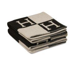 "Avalon  Signature H blanket in ecru/black. 85% wool, 15% cashmere. Measures 55"" x 69"".    Ref. 100186M55  $1,300.00"