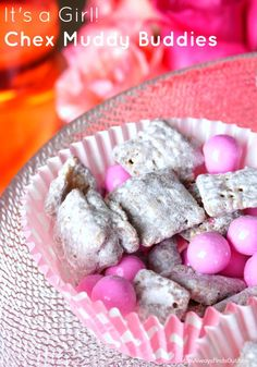 Chex Muddy Buddies Recipe for a Baby Shower - How to Make Pink Mix for Girls, Blue Mix For Boys ad