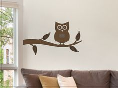 Owl on a Tree Branch Wall Sticker Decal - Nice Wall Decor For Any Room