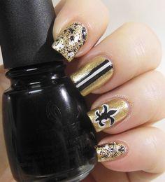 Did My Nails: New Orleans Saints #nail #nails #nailart same colors but mizzou!