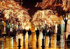 Holiday Lights on Church Street Downtown Burlington, Vermont