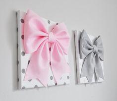Rosa y gris perfecto vivero conjunto de colgante de pared