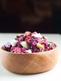 Beet Salad with Apples, Quinoa and Goat Cheese - a fun substitute for the typical potato salads or cole slaw.