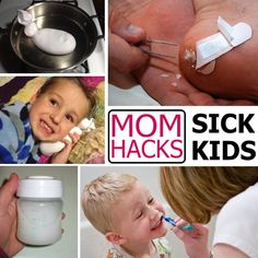 Help sick kids feel better with these health hacks for moms. So many wonderful ideas here. -- There also other hacks, like homemade deodorant and exercise ideas for busy moms. Baby Health, Kids Health, Health Tips, Health Recipes, Sick Baby, Sick Kids, Baby Kind, Baby Love, Kids And Parenting