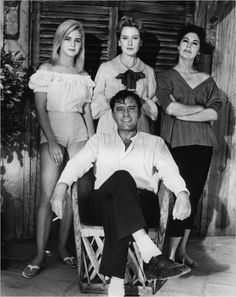 "Sue Lyon, Deborah Kerr, Ava Gardner, and Richard Burton -- ""The Night of the Iguana"" (John Huston, 1964)"
