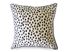 Black and Beige Animal printed spotted dot print decorative pillow cover by Willa Skye Home. Pattern on both sides and black piping  Made of home decor weight, high quality cotton duck. Printed on both sides.  YKK zipper enclosure and overlocked stitched/serged sewn for a professional finish  >>>Pillow form not included  Note: Not white or ivory, color is beige