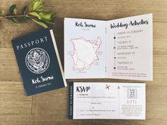Passport style invitation destination travel wedding Thailand Kou Samui overseas boarding pass plane ticket fun unique custom design Melbourne Australia