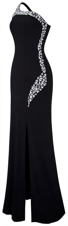 Angelfashions Womens One Shoulder Rhinestone Side Splits Black Long Dress Small Black >>> You can find out more details at the link of the image. (This is an affiliate link) Formal Dresses For Women, Side Split, Fashion Outfits, Womens Fashion, One Shoulder, Angel, Link, Image, Womens Formal Dresses