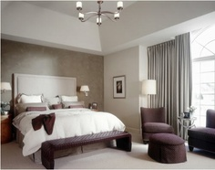 Gray and Plum bedroom.  Liking it.