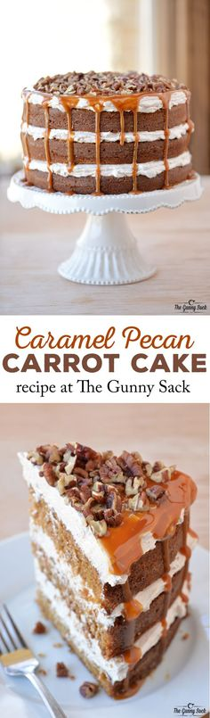 I love this epic Caramel Pecan Carrot Cake recipe with layers of fluffy filling, caramel drizzling down the sides and chopped pecans on top.
