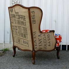 Reupholstered chair using coffee sack More More