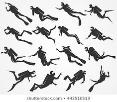 Vector silhouettes scuba divers swimming in the sea or ocean Whale Tattoos, Dad Tattoos, Tattoos For Guys, Sketch Tattoo Design, Tattoo Designs, Scuba Diver Tattoo, Marine Tattoo, Under The Sea Decorations, Clay Crafts For Kids
