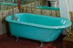 Tiffany Blue bathtub turquoise bathroom mid century