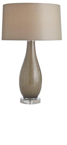 Taupe contemporary table lamp -- shade and body from InStyle-Decor.com; doesn't appear to be in stock any longer. Nationwide and International Shipping From Beverly Hills, California