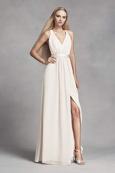Stunning in its simplicity, this long chiffon dress features luminous  touches of satin at the waistline and crisscrossing back straps. White by Vera  Wang, ...