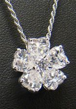 """925 STERLING SILVER PENDANT & 20"""" NECKLACE CUBIC ZIRCONIA FLOWER 5 HEART CLUSTER"""