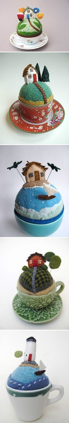 Surprise DIY something's are just adorable! Tiny landscape in felt