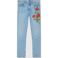Gucci Embroidered Denim Pant (£975) ❤ liked on Polyvore featuring pants, jeans, bottoms, gucci, denim, ready to wear, women, floral printed jeans, denim skinny jeans and embroidered jeans