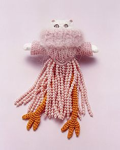 Felieke van der Leest Brooch: Pink Lady with the Chicken Legs 2004 Textile, plastic, plastic animal 9.5 x 5.5 x 2.5 cm