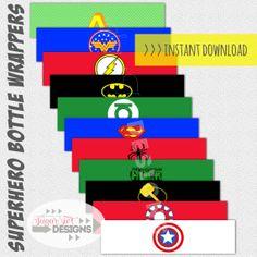 INSTANT DOWNLOAD Superhero Logo Water Bottle Wrappers, Superhero Bottle Wraps - PRINTABLE on Etsy, $5.00