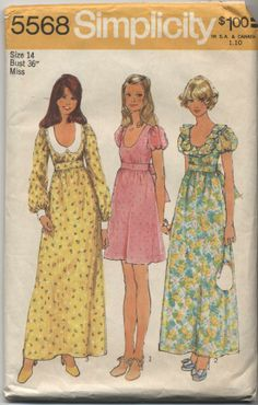 Simplicity 5568 - dress pattern from 1973.