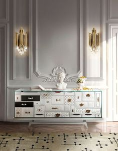 Exclusive sideboards are necessary in order to create a luxury home. These exquisite items are able to upscale any living room or dining area. #bocadolobo #luxuryfurniture #interiordesign #designideas #livingroom #modernlivingroom #decorideas #homeandecoration #livingroomideas #interiodesign #decor #homedecor #livingroomdecor #interiordesigninspiration #interiorinspiration #luxuryinteriordesign #homedecor #decorations #homedecor #buffetsandcabinets Luxury Interior Design, Interior Design Inspiration, Design Ideas, Rug Inspiration, Mondrian, Luxury Furniture, Furniture Design, White Furniture, Unique Furniture