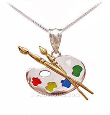 Great Gift for an Art Student - Palette Charm Necklace with Gold Brushes & Enamel