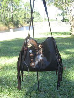 Double Fringe Black Velvet Gypsy Bag Black Cross Body Bag Bohemian  Hippie Bag Festival Bag Renaissance bag Shoulder Bag Hand Bag