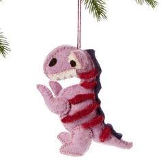 T-Rex Dinosaur Ornament - Silk Road Bazaar (O) Women in Kyrgyzstan made this ornament by hand from felt. With a loop for hanging, the ornament measures 5 inches tall.